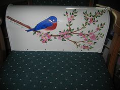 Painted mailbox, bluebird.  5-13.  Left side.
