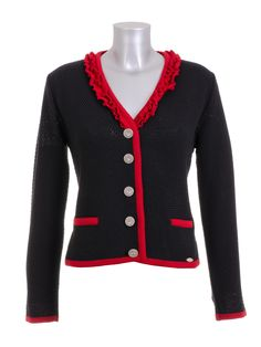Damen Trachten Dirndl Strickjacke Huber Mode schwarz rot