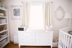 Dresser + Window wall.  Frames by Paint it White. Photo by Jenna Henderson. Design by Hillary @ Brocade Designs