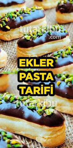 Ekler Pasta Tarifi Turkish Recipes, Hot Dog Buns, Cake Recipes, Pasta Recipes, Food And Drink, Bread, Chocolate, Easy, Malaga