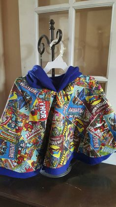"Superhero ""Anthony"" brand Fleece lined Hooded Poncho cloak"