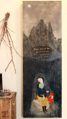 "Good night ☆ | ""Meet me in the moonlight for there's not much time"" illustration by Rebecca Green, 2013. 12x36 Acrylic, gold leaf, oil on wood"