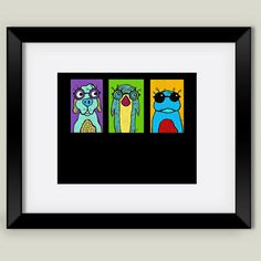 Fun Indie Art from BoomBoomPrints.com! https://www.boomboomprints.com/Product/luckiiarts/Three_guys_with_specks/Framed_Art_Prints/11x14_Black_Frame_White_Matte_Print/