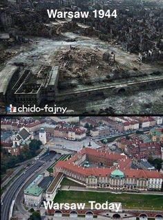 Royal Castle and Old Town area in Warsaw after WWII and now Then And Now Pictures, Europe Centrale, Warsaw Uprising, Poland History, Poland Travel, Warsaw Poland, World History, World War Two, Historical Photos