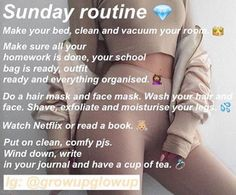 Happy Sunday glo up routine Sunday Routine, Night Routine, Glo Up, Skin Care Routine For 20s, Self Care Routine, Skincare Routine, Girl Life Hacks, Girls Life, Schul Survival Kits