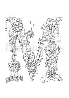coloring page floral letters nursery alphabet M by Fleurdoodles