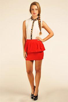 Pheobe Peplum Skirt - Red