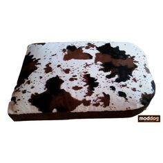 Mod Dogs Love Cow Print Cuddly Soft Futon Dog Beds! Oh, yea! 're going to love this one! Mod Dog Boutique introduces another exclusive design futon Mod Dog bed! This dog bed has a cuddly soft cow print top and a rich cocoa brown micro-suede bottom. #moddog #moddogboutique