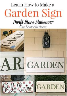 Hand-painted garden sign with a thrift store find via Our Southern Home