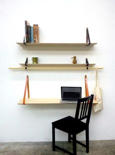 Elemotions Triabook shelving system is stripped to the bare-essentials without sacrificing original style. The 3-shelf design fuses artisanal leather tooling with raw wood for a custom, textural look. From the shabby chic apartment to urban loft, its go-flat functionality makes it a must have for dwellings with limited space.