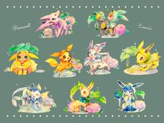 The Eeveelutions and their raincoats