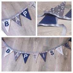 Guirlande de fanions chambre d'enfants bleu et gris avec différents tissus à motif à étoiles