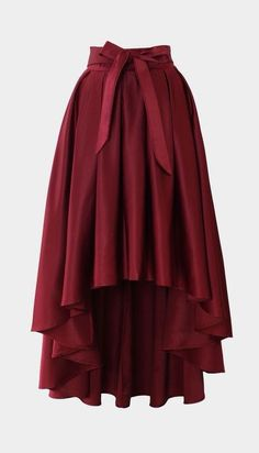 Pretty for dress-up. --Bowknot Asymmetric Waterfall Skirt in Wine Red Skirt Outfits, Dress Skirt, Bow Skirt, Chiffon Skirt, Pleated Skirt, Mini Skirt, Modest Fashion, Fashion Dresses, Unique Fashion