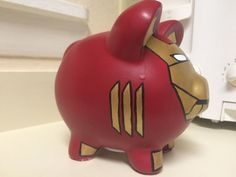 Marvel Iron Man Superhero Avengers Hand Painted Ceramic Piggy