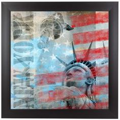 """East Urban Home 'Statue of Liberty 2' Framed Graphic Art Print Size: 15"""" H x 15"""" W x 1"""" D"""