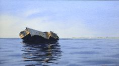 """""""The Wreck of the Pendleton"""" by Tom Upson, watercolor.  Courtesy of the Nickerson Art Gallery, Chatham, MA.  For more about this painting, visit  http://nickersonartgallery.com/portfolio-item/the-wreck-of-the-pentleton-2 For more about the rescue of the """"Pendleton"""" crew, visit CG36500.org"""