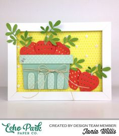 """Framed Silhouette Berry Basket by Tania Willis with the """"Homegrown"""" collection by #echoparkpaper"""