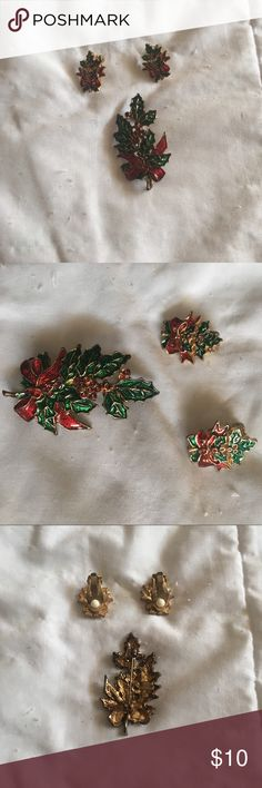 Clip on Earrings & Brooch Set In great condition Jewelry Brooches