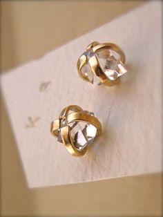 Herkimer Diamond Earrings - 14k Gold - Raw Gemstone - 8mm