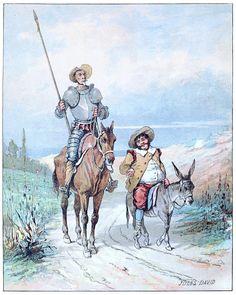 Don Quixote and Sancho Panza. Jules David, frontispiece from El Quijote de la juventud (Don Quixote for the young folks), by Miguel de Cervantes Saavedra, excerpts selected by Domingo López Sarmiento, Paris, 1888.