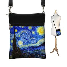 "ON SALE 25% off orig price of $40 = $29.99. Unique and artsy Small Cross Body Purse in Van Goghs Starry Night design. 7"" wide by 9"" tall"