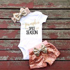 Pumpkin Spice Season Baby Girl Bodysuit, Fall, Winter, Thanksgiving, Pumpkins, Pumpkin Patch, Coffee, Pumpkin Spice, Halloween, Sparkle by GLITTERandGLAMshop on Etsy https://www.etsy.com/listing/398226963/pumpkin-spice-season-baby-girl-bodysuit