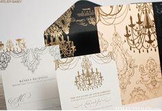 Black & Gold Wedding Invite with Chandelier Detail / Alante Photography / Style Unveiled photo shoot
