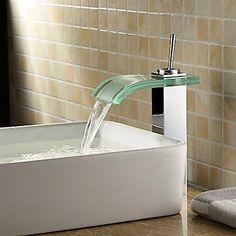 Moderne Basin Vandfald with Keramik Ventil Enkelt håndtag Et Hul for Krom Vandhane Badeværelse
