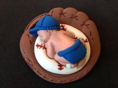 baby baseball cakes | Fondant baby boy baseball 3D glove cake topper, baby shower, birthday