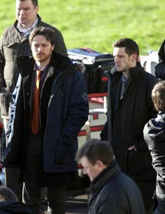'Filth'  Filth set photos: James McAvoy and Jamie Bell in Glasgow on Jan. 23, 2012  Copyright: Rex Features Michael McGurk