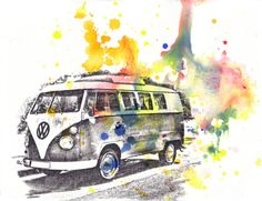 Retro Vintage Art Volkswagen Vw Van Bus Watercolor Painting - Original Watercolor Painting Car Art