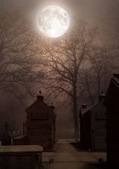 What is more indicative of a haunted place then a full moon over a graveyard.