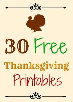 A round up 30 free Thanksgiving printables. The easiest, cheapest seasonal decorations - free printables including signs, banners, tags, and more. Thanksgiving Crafts, Free Thanksgiving Printables, Thanksgiving Banner, Thanksgiving Parties, Thanksgiving Activities, Thanksgiving Decorations, Happy Thanksgiving, Free Printables, Fall Decorations