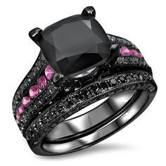 Noori 14k Black Gold 1/10ct TDW Black Diamond and Pink Sapphire Engagement Ring Set