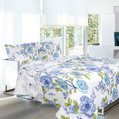 Double/Queen Aylin Microfiber Quilt Set in Blue and Green, I bought this at only 39.99 and it is beautiful, really summery, and paired with another quilt in Pistachio really brought out the green, made the whites whiter and blues more vibrant.