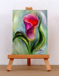 Pink with purple Calla Lilly. inch original miniature oil Source by fuhrmannsteffen Calla Lillies, Calla Lily, Simple Oil Painting, Acrilic Paintings, Acrylic Art, Beautiful Paintings, Flower Art, Canvas Art, Mini Canvas