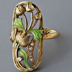 Antique Art Nouveau Gold Enamel and Diamond Ring