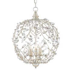 The pleasing inspiration of nature merges with the conventions of finely crafted traditional design in the romantic Crystal Bud Sphere Chandelier. Delicate faceted crystals unfurl from the Silver Granello-finished vines that make up the globe-like body of this idyllic piece.  Material: Wrought Iron/Crystal Finish: Silver Granello