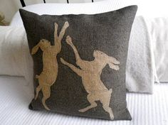 hand printed  charcoal rustic boxing hare cushion by helkatdesign, $76.00