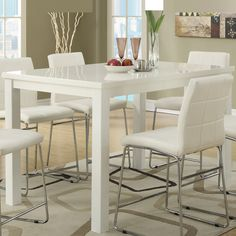 White Counter Height Kitchen Table Poundex furniture opulent design 6 seating rectangle high glossy poundex furniture opulent design 6 seating rectangle high glossy white counter height dining table with workwithnaturefo