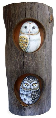 Owl painted rock by Roberto Rizzo.