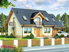 This four bedroom classic house design is an interesting proposition for people with medium-wide plot. The house has a typical shape, which greatly facilitates the construction process. Country House Plans, Small House Plans, Classic House Design, Modern Bungalow House, Concept Home, Storey Homes, Design Case, Home Fashion, Exterior Design