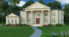 Plan Name: Vinius DESCRIPTION You'll find this home to be suffused with Old World appeal. Modified Palladian windows crown the entrance within a magnificent portico, providing the perfect embellishment to a handsome stucco or brick facade. French doors grace the front of the home, opening to a hushed library on the right, and an elegant formal dining room on the left. Visit>> http://www.archivaldesigns.com/home-plans/vinius