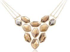 Golden Tone Chunky Topaz Crystal Rhinestone Three Chain Bib Fashion Necklace Contact: (702) 751-3523  Email: info@pakrobe.com  Skype: PakRobe