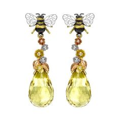 Theo Fennell Bee & Blossom earrings in yellow, white and rose gold with yellow beryl and diamonds.