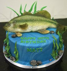 Here are some cute and nice fish birthday cake ideas for kids and your family. It would be a great Fish birthday cake idea that may be unique and surprising Cake Cookies, Cupcake Cakes, Cupcakes, Beautiful Cakes, Amazing Cakes, Bass Fish Cake, Cake Toronto, Fish Cake Birthday, Gateaux Cake