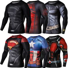 2015 New Sport Fitness Compression Shirt Men Superman Bodybuilding Long Sleeve 3D T Shirt Gym Crossfit Running Tops Shirts