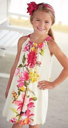 Mulberribush Floral Drawstring Dress. Drawstring dress that ties in the  back through a keyhole closure 6e05517d89