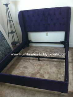 Wayfair.com queen size velvet bed with headboard assembled in Washington DC on Georgia Ave