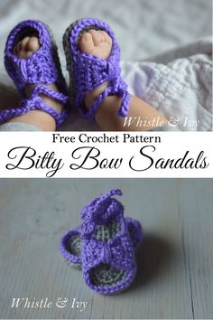 Scroll down for written pattern Free Crochet Pattern - Bitty Bow Baby Sandals. Adorable spring and summertime booties for baby! Crochet Sandals, Crochet Baby Booties, Crochet Slippers, Knit Or Crochet, Cute Crochet, Crochet For Kids, Knitted Baby, Crochet Granny, Baby Patterns
